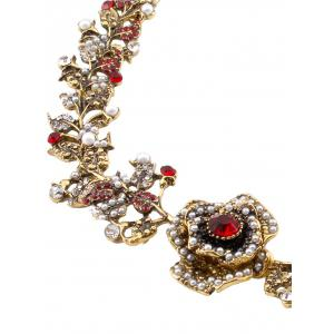 Artificial Pearl Rhinestone Rose Floral Necklace -