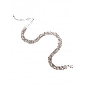 Alloy Rhinestoned Necklace - WHITE
