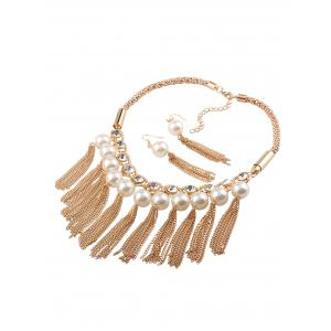 Fake Pearl Chain Tassel Necklace and Earrings -