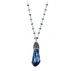 Natural Stone Beads Pendant Necklace - Blue