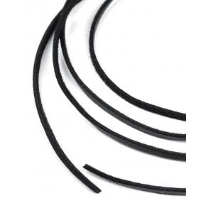 Vintage Faux Leather Rope Necklace - BLACK