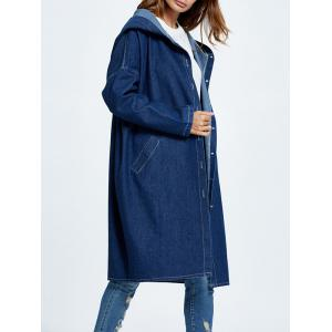 Hooded Button Up Denim Coat with Pockets - DEEP BLUE ONE SIZE