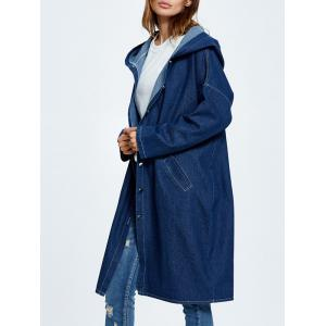 Hooded Button Up Denim Coat with Pockets -