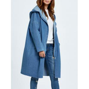 Hooded Button Up Denim Coat with Pockets - Cloudy - One Size
