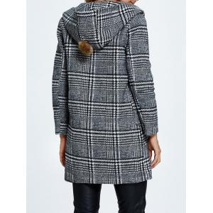 Hooded Pompon Embellished Plaid Wrap Coat - GRAY L
