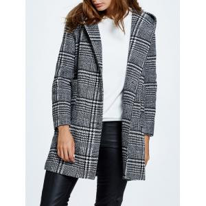 Hooded Pompon Embellished Plaid Wrap Coat