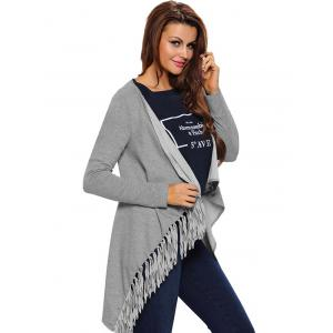Asymmetrical Fringed Convertible Coat -