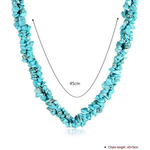 Natural Stone Turquoise Necklace - LAKE GREEN