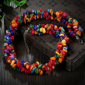 Natural Stone Bib Necklace - COLORMIX