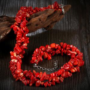 Vintage Natural Stone Necklace - RED