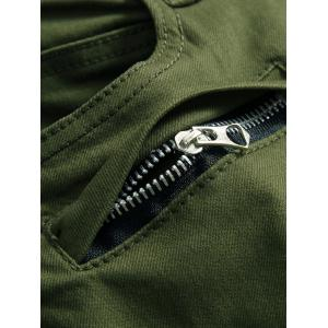 Zipper Fly Checked Spliced Narrow Feet Pants -