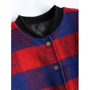 Button Up Plaid Jacket - RED 5XL