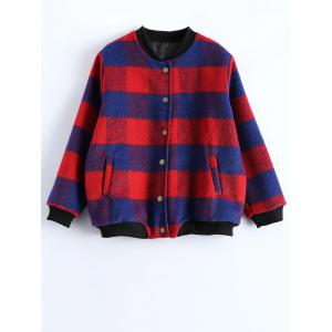 Button Up Plaid Jacket - Red - L