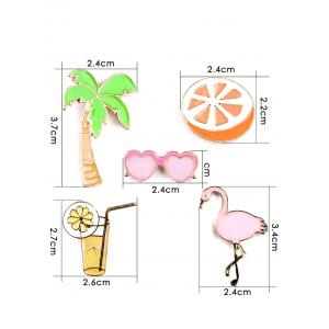 Coconut Tree Orange Heart Glasses Brooch Set -