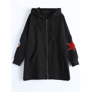 Pocket Zip Up Epaulet Plus Size Hoodie