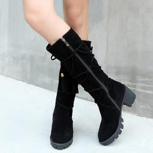 Lace Up Tassels Zipper Boots - BLACK 39