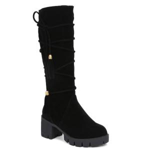 Lace Up Tassels Zipper Boots