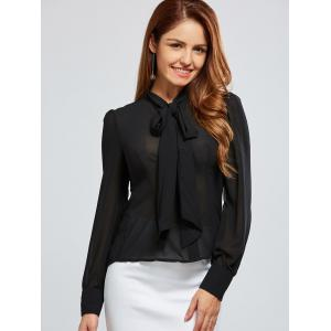 See Through Bow Tie Collar Chiffon Blouse - BLACK S