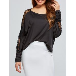 Lace Insert Batwing Sleeves Blouse