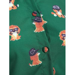 Pussy Bow Puppy Printed Shirt - GREEN XL