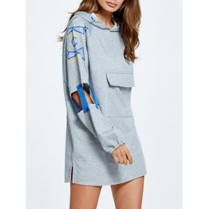 Cut Out Side Slit Letter Print Hoodie - GRAY ONE SIZE