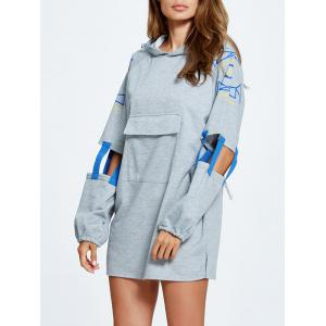 Cut Out Side Slit Letter Print Hoodie