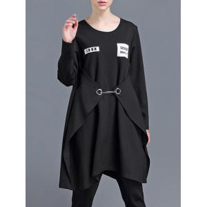Convertible Long Sleeve Patched Dress