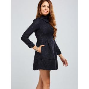 Zip Back A Line Tweed Dress - DEEP BLUE XL