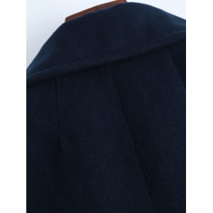 Lapel Slimming Double Breasted Wool Blend Coat - PURPLISH BLUE 2XL