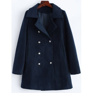 Lapel Slimming Double Breasted Wool Blend Coat - Purplish Blue - L