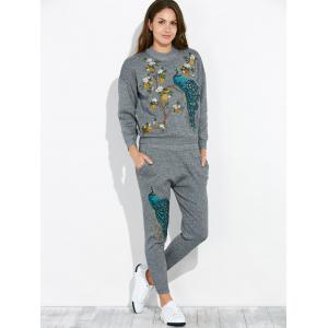 Peacock Embroidery Knit Top and Pants Set -
