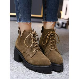 Suede Slit Chunky Heel Boots - DEEP BROWN 39