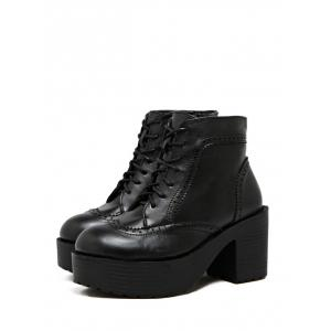 Vintage Chunky Heel Engraving Ankle Boots -