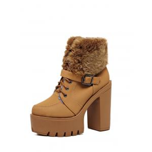 Faux Fur Buckle Strap High Heel Boots -
