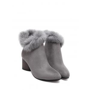 Faux Fur Zipper Pointed Toe Ankle Boots - GRAY 39