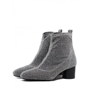 Glitter Round Toe Chunky Heel Ankle Boots -