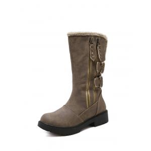 Zippers Double Buckle Platform Mid Calf Boots -