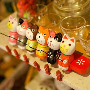 Fishing Cat Set Wooden Craft Furnishing Home Decoration - COLORFUL