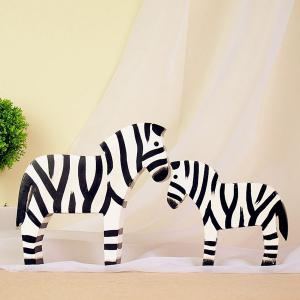 2PCS Zakka Nordic Craft Zebra Bois Décoration -