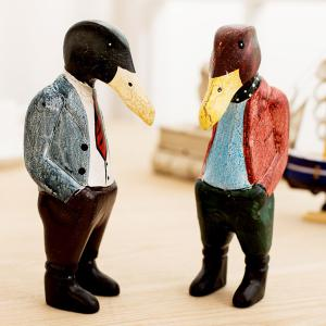 Handmade 2PCS Wood Painting Puppet Duck Brother Craft -