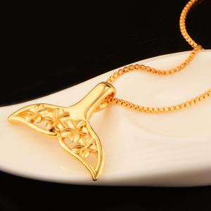 Floral Enamel Hollow Out Pendant Necklace - GOLDEN