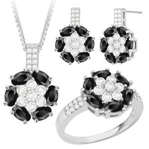 Rhinestone Faux Crystal Floral Jewelry Set - Silver