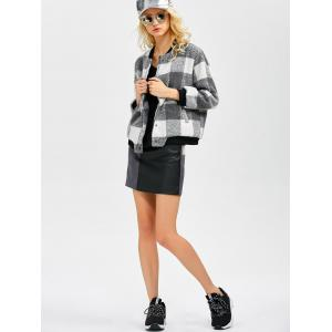 Plaid Button Up Bomber Jacket -