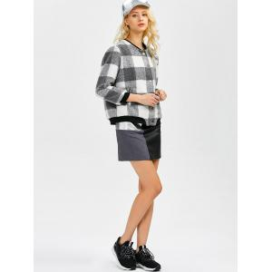 Plaid Button Up Bomber Jacket - BLACK/GREY 5XL