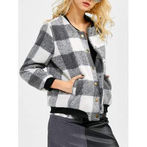 Plaid Button Up Bomber Jacket - Black And Grey - Xl