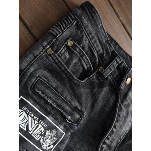 Plus Size Zipper Fly Stud and Appliques Design Straight Leg Jeans -