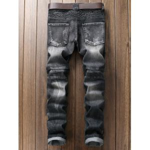 Plus Size Ripped Straight Leg Biker Jeans -