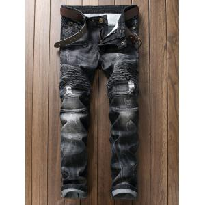 Plus Size Ripped Straight Leg Biker Jeans