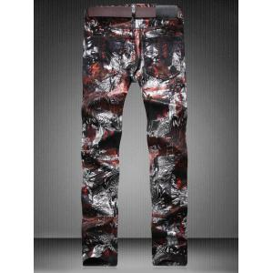 Plus Size Zipper Fly Color Block Abstract Print Straight Leg Jeans -
