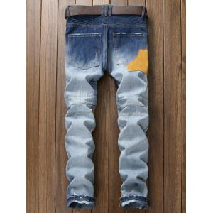Plus Size Zipper Fly Rib and Holes Design Patch Narrow Feet Jeans - BLUE 38